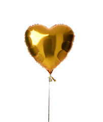 Single big gold heart metallic balloon for birthday party isolated