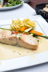 Grilled Salmon with fresh lettuce and mash potatoes