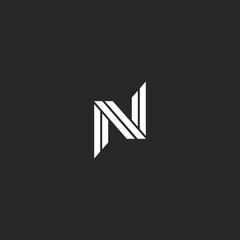 Monogram letter N logo minimal design. Creative black and white overlapping lines NN initials wedding card emblem.