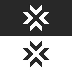 Converge arrows logo mockup, letter X shape black and white graphic concept, intersection 4 directions in center crossroad creative resize icon