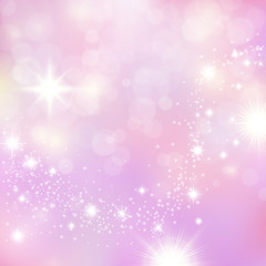 Vanilla sky sundogs morning with pink and violet tints. Sparkling stardust glitter for princess celebrstions posters and banners. Dreamy mood background.