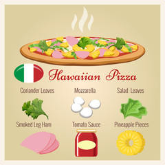 Hawaiian pizza. Italian pastry cooked pizza with pineapple and cheese, ham and coriander leaves vector illustration