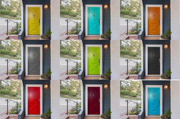 Panoramic rainbow colors collection of Doors with single cylinder entrance electronic handle-set.