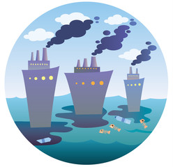 Ecological disaster at sea in a circle. A flat vector icon for the designer's work. Icon with ships