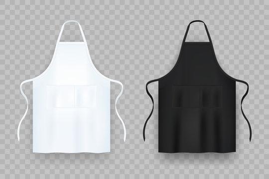 Realistic white and black kitchen apron. Vector illustration.
