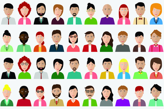 Group of people diversity, man and women avatar icon. People icon set. Vector illustration of flat design people characters