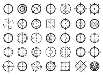Creative vector illustration of crosshairs icon set isolated on transparent background. Art design. Target aim and aiming to bullseye signs symbol. Abstract concept graphic games shooters element