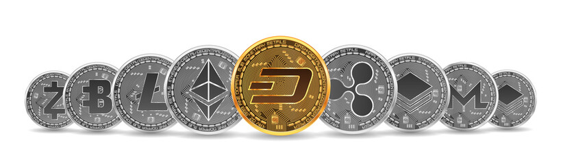 Set of gold and silver crypto currencies with golden dash in front of other crypto currencies as leader isolated on white background. Vector illustration. Use for logos, print products