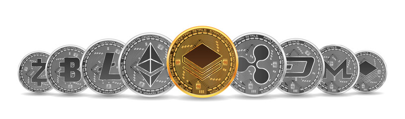 Set of gold and silver crypto currencies with golden stratis coin in front of other crypto currencies as leader isolated on white background. Vector illustration. Use for logos, print products