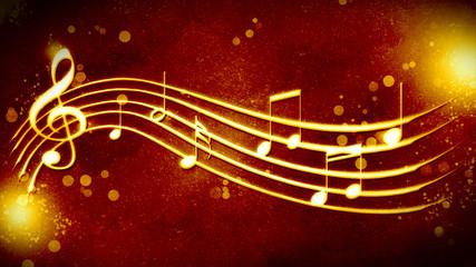 beautiful golden background music notation