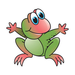 frog vector cartoon or mascot sitting and spreading hands with smile