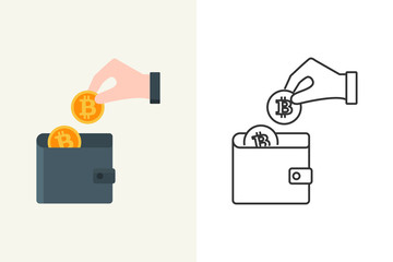 Vector illustration of a hand putting bitcoin into the wallet