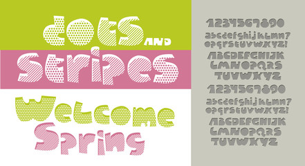 Dot and stripes pattern letters for print and web. Alphabet set in cute kid style. Extra fat letters for funny lettering.
