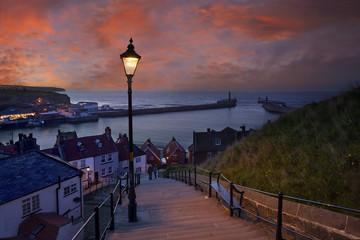 Whitby at dusk, Yorkshire, England, UK