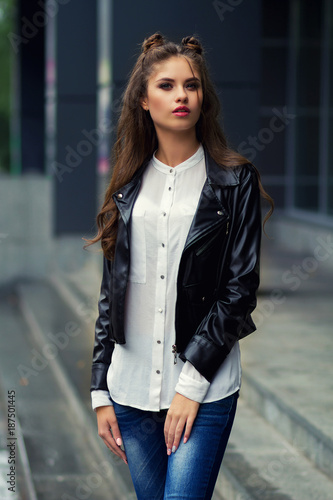 Stylish Young Girl In A Black Kurta And Jeans A Young Girl With A