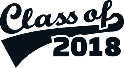 Class of 2018 words retro style black