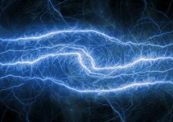 Blue electrical background, plasma and lightning