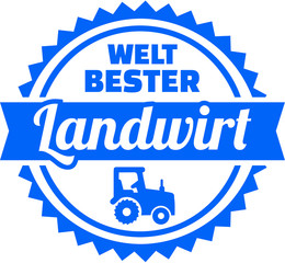Fototapete - Worlds best farmer emblem german