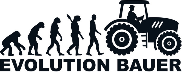 Wall Mural - Farmer evolution tractor german word