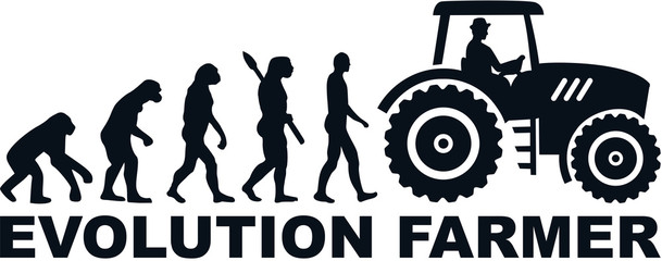 Wall Mural - Farmer evolution tractor word