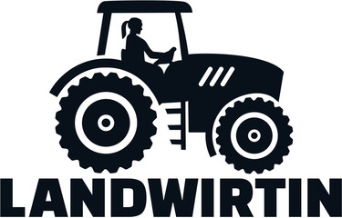 Wall Mural - Farmer tractor female job title german
