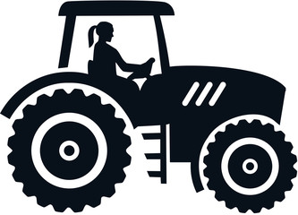 Wall Mural - Farmer tractor female black