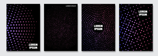 Cover design template. Vector minimal abstract background with gradient halftones. Flyer, poster, brochure design. A4 size.