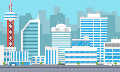 Panorama of a large modern city with skyscrapers. Vector illustration
