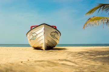 A boat on the beach in The Gambia, West Africa