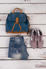 Grunge jeans and sneakers