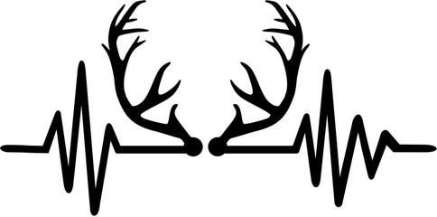 Deer antlers heartbeat line