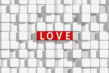 "3D rendering, front view white text "" LOVE "" on red cube with abstract white grid pattern background."