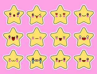 Kawaii stars cartoon character set, face with eyes, yellow color on pink background. Flat design Vector Illustration EPS