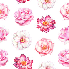Watercolor seamless pattern with white, pink and red peony flowers on white background.