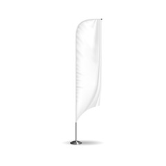 Realistic flag, textile banner and advertising layout, white advertising stand.