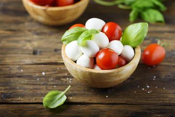 Italian antipasto with mozzarella, tomato and basil