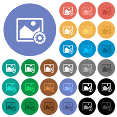 Image settings round flat multi colored icons