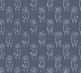 Hand drawn seamless pattern with native american dreamcatcher