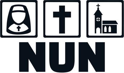 Nun with job icons