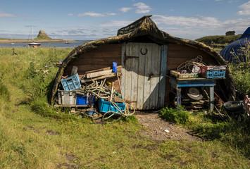 Boat storage sheds on Lindisfarne Island