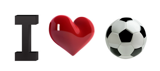 Soccer or football Vector Ball and red heart. Realistic soccer ball with love heart in 3d Style. Football love banner