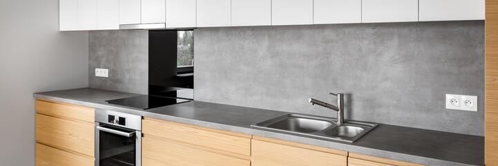 Obraz Modern kitchen furniture with induction - fototapety do salonu