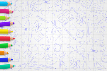 Back to school - background with funny doodles and colored pencils. Vector.