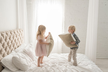 Siblings Playing Pillow Fight