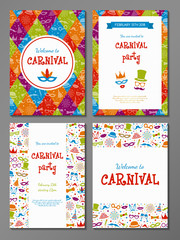 Carnival Party - set of colourful cards. Vector.