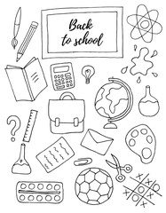 Back to school doodle hand drawn set.