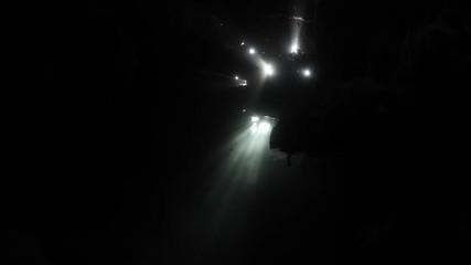 Fototapete - Beams of Sunlight in Underwater Cave
