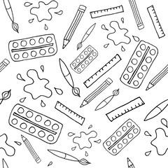 seamless art tools pattern illustration