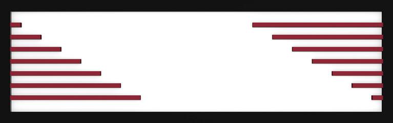Header / Banner mit Linien in altrosa, weiß und schwarz. 3d render