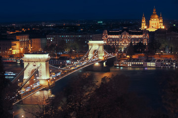 Chain Bridge and Parliament in night light of Budapest